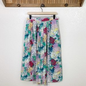 Vintage 80s Watercolor Floral Pleated Midi Skirt